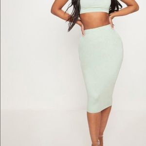 PrettyLittleThing suede midi skirt